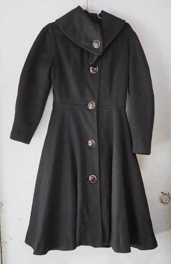 1950's Black Princess Seam Wool Coat