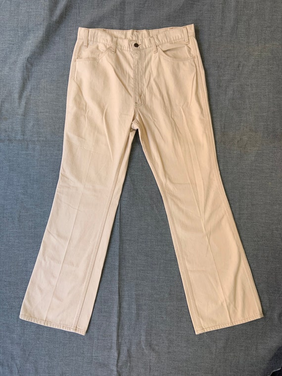 1970s Off White Levis Bell Bottoms