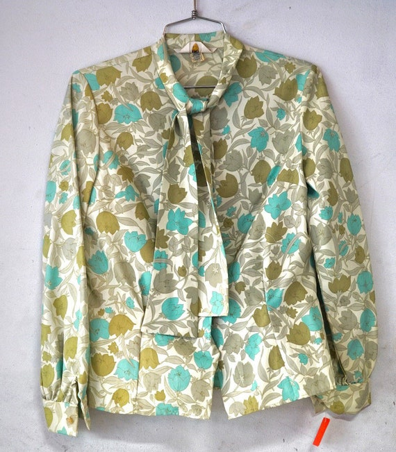 1960's Floral Pussy Bow Long Sleeve