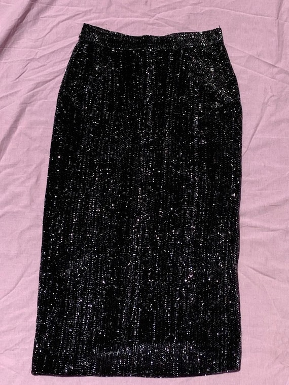 1950's Lurex Black And Silver Pencil Dress