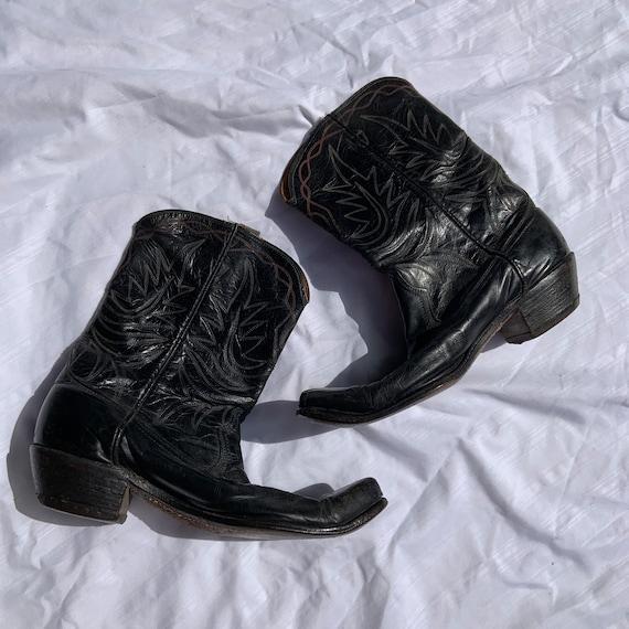 1950s Acme Black Leather Cowboy Boots