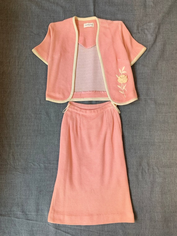 Late 50s - Early 60s Pink Skirt Suit