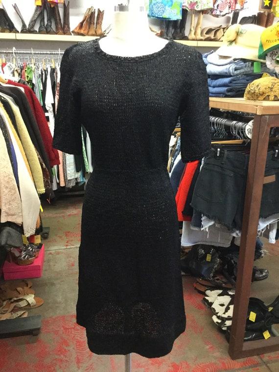 Jet Black Ribbon 1950's Dress
