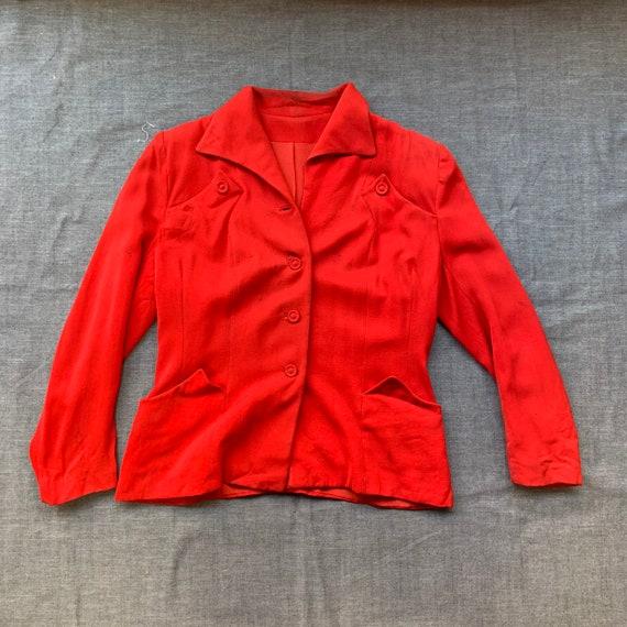 1940s Women's Red Gaberdine Blazer