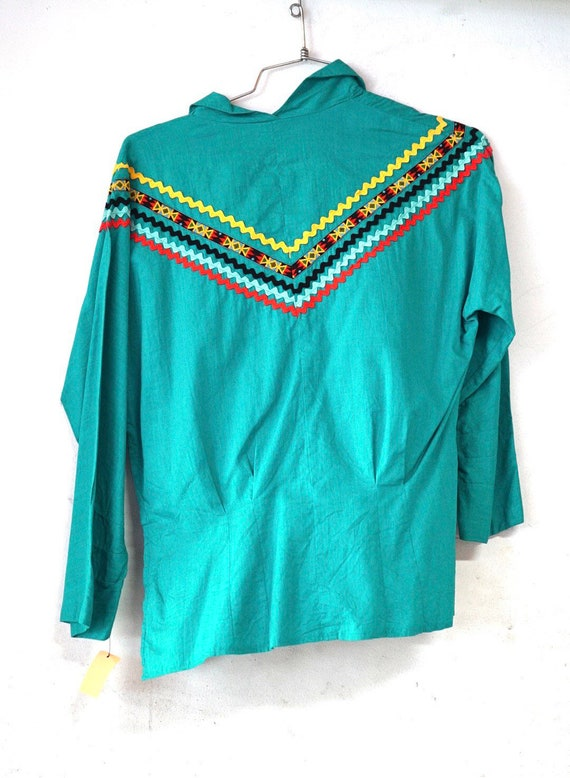 Turquoise Green Cotton Pullover Patio Blouse Ric R
