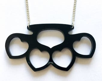Acrylic knuckleduster necklace
