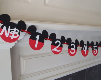 Mickey Mouse 1st Birthday Photo Banner 12 month Banner by FeistyFarmersWife