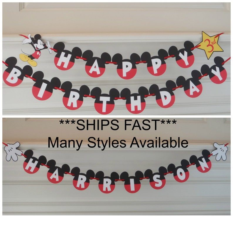 Mickey Mouse Birthday Banner 1st Party