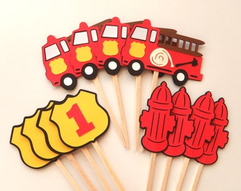 Fire Truck Birthday Party Cupcake Toppers  Firetruck Birthday Decorations by FeistyFarmersWife
