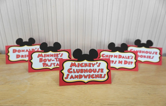 Mickey Mouse Birthday Place Cards Food Labels Party Decoration Minnie Mouse Clubhouse by FeistyFarmersWife