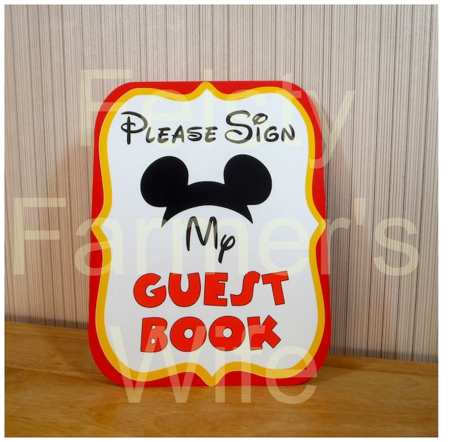 Mickey Mouse Birthday Party Sign Please My GuestBook Decoration Clubhouse By FeistyFarmersWife