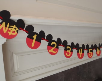 Mickey Mouse 1st Birthday Party Decorations Photo Banner First Year Birthday Baby Shower Banner by FeistyFarmersWife