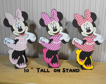 """Minnie Mouse Birthday 10"""" Tall Minnie Die Cuts on Stands Standee Party Decorations Centerpiece Table Decor by FeistyFarmersWife"""