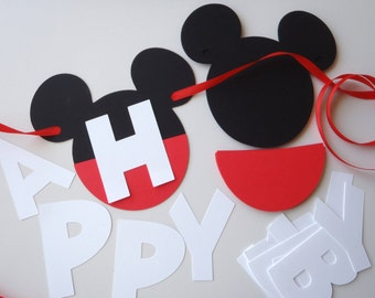 DIY Mickey Mouse Birthday Banner Kit with Optional Custom Name Birthday Party Decorations SHIPS FAST by FeistyFarmersWife