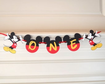 "Mickey Mouse 1st Birthday Banner ""ONE"" or ""TWO"" 2nd Birthday Party Decoration First Birthday Decorations by FeistyFarmersWife"