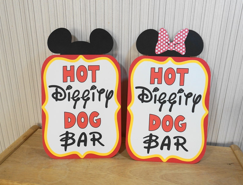 Mickey Mouse Birthday Sign Hot Diggity Dog Bar Party image 0