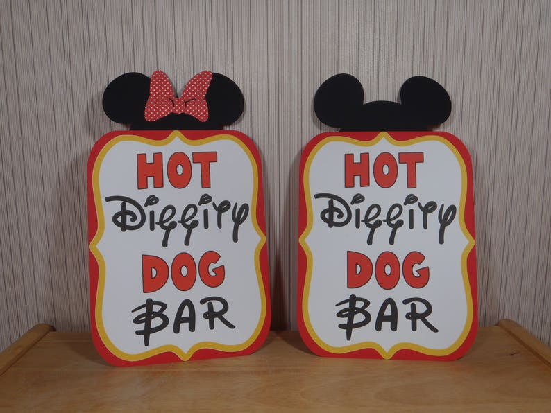 Mickey Mouse Birthday Sign Hot Diggity Dog Bar Party