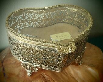 Matson Jewelry Box 24 Karat Gold Plated Ornate Ormolu Filagree Heart Shaped / Vintage 50s Vanity by Feisty Farmers Wife