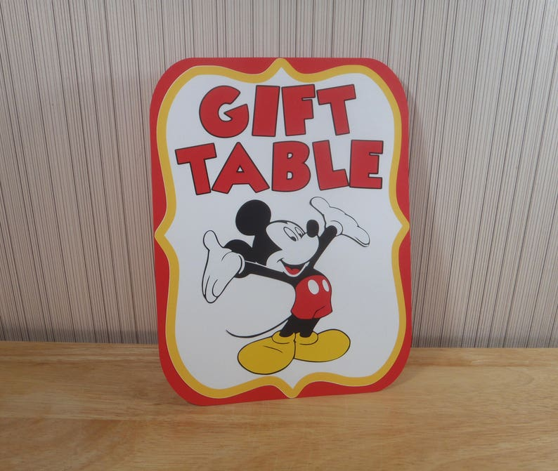 Mickey Mouse Birthday Party Sign Gift Table