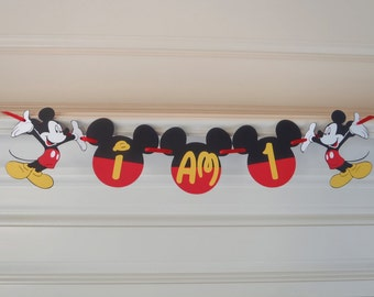 "Mickey Mouse 1st Birthday Banner """"I AM 1 or ""I AM 2""  2nd Birthday Party Decoration First Birthday Decorations  by FeistyFarmersWife"