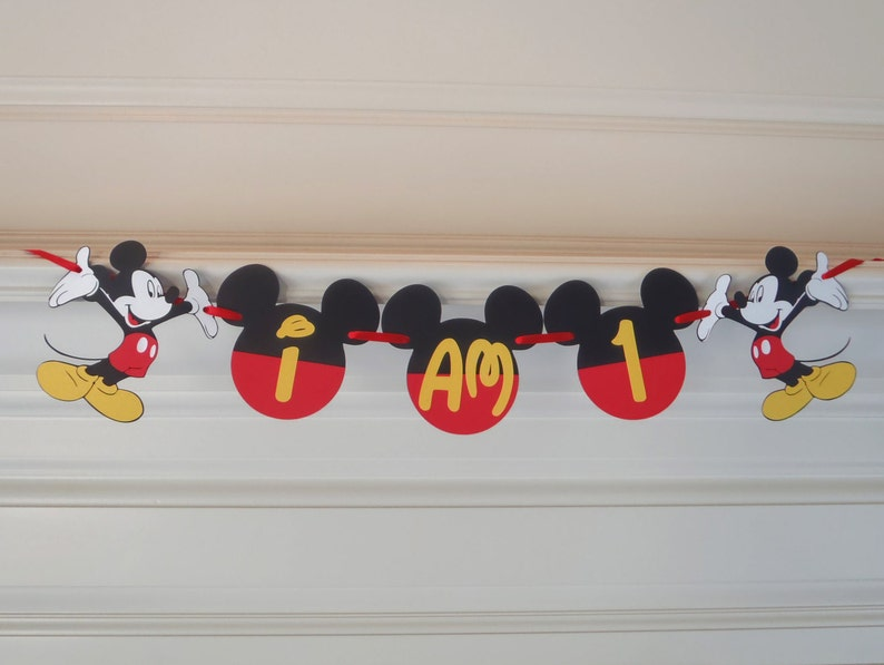 Mickey Mouse 1st Birthday Banner I AM 1 Or