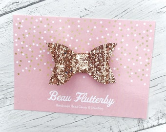 Rose Gold - Sparkly Glitter Hair Bow Clip