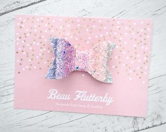 Unicorn Magic - Sparkly Glitter Hair Bow Clip