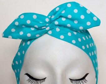 Rockabilly Pin Up Turquoise & White Polkadot Print Wire Headband