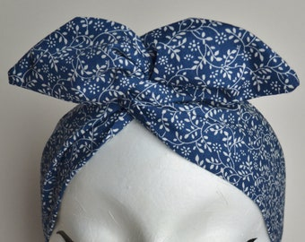 1950s Rockabilly Pin Up Navy Blue Leaf Floral Print Dolly Bow Wire Headband
