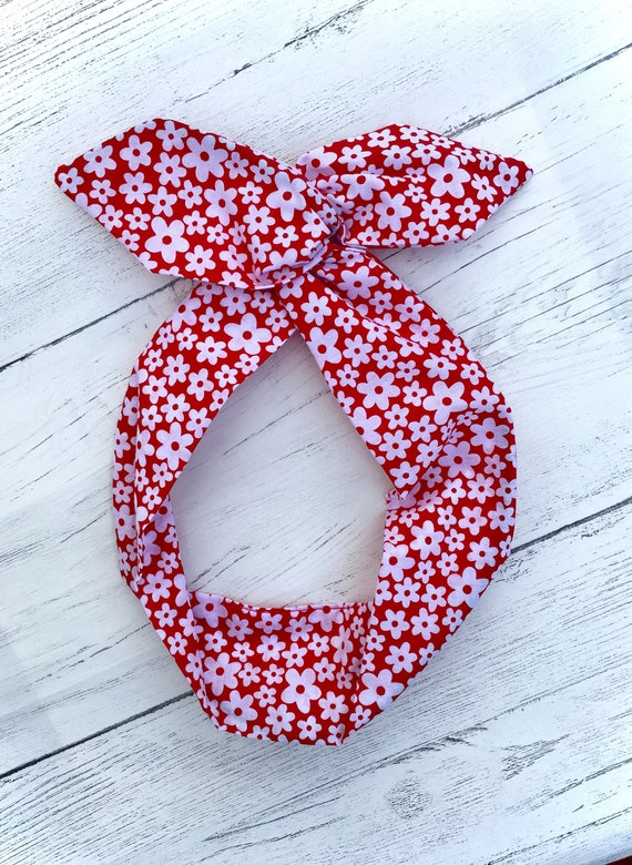Red with white heart print Rockabilly Pin up wire headband