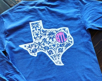 Paisley Texas Monogram Comfort Colors Tee