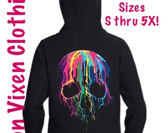Colorful Dripping Skull Zip Up Hoodie Sweatshirt Black S M L XL Plus Size 1x 2x 3x 4x 5x
