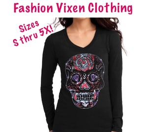 fbeb4d4ba8c9 Day of the Dead Bling Rhinestud Rhinestone Sugar Skull Long Sleeve V-Neck  Shirt S M L XL Plus Size 1x 2x 3x 4x 5x