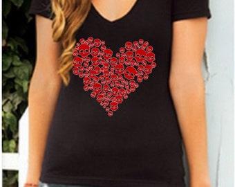 2077e138729b Red Glitter Sugar Skull Heart Short Sleeve Black V-Neck Shirt S M L XL Plus  Size 1x 2x 3x 4x 5x