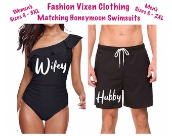 06a4e9cb52 Honeymoon Wifey and Hubby Bride & Groom Matching Black and White Bathing  Suit Swimsuit Swimwear