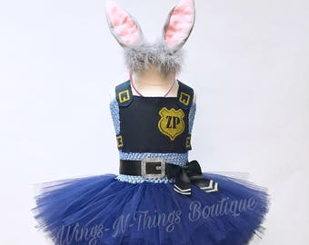 bunny cop costume police tutu dress rabbit ears tail girls dress halloween costume toddler headband zoo patrol officer kids