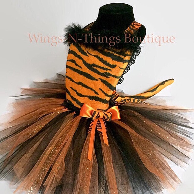 7a33ae7b50 ORANGE TIGER CAT Costume Tutu Dress 3pc Set w  Kitty Ear