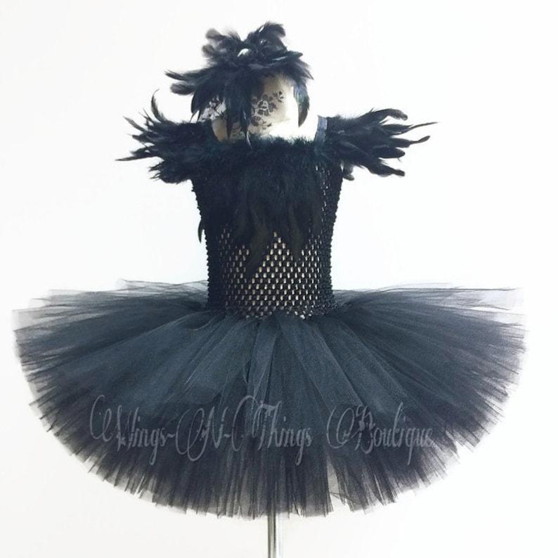 4d7cd7551 BLACK CROW COSTUME 2pc Set Tutu Dress Swan Lake Feather