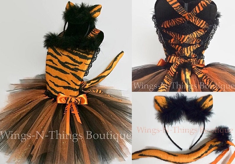 f86e3fdeb2 TIGER CAT COSTUME Tutu Dress 3pc Set w/ Kitty Ear Headband & | Etsy