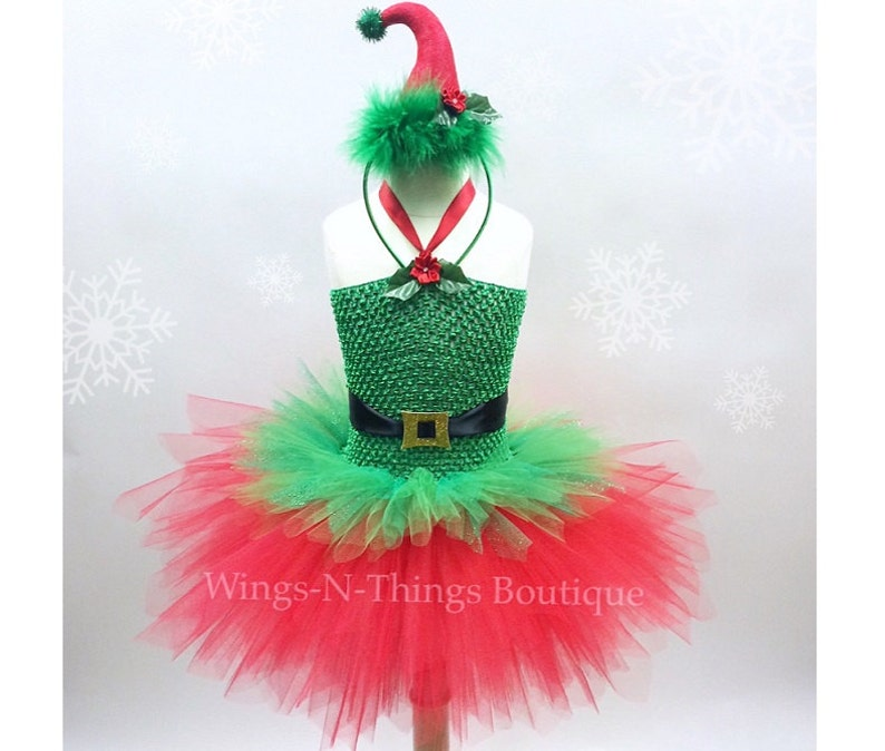 1a339f5cb0818 CHRISTMAS ELF TUTU Dress Set w/ mini Elf Hat Headband, Childrens Christmas  Costume, Santa's Little Helper, Xmas, Girls, Toddler, Kids