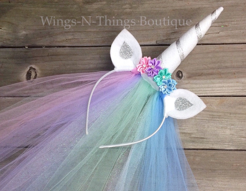 UNICORN PRINCESS PONY Celestia Horn Headband w  tulle veil  d38c974639b