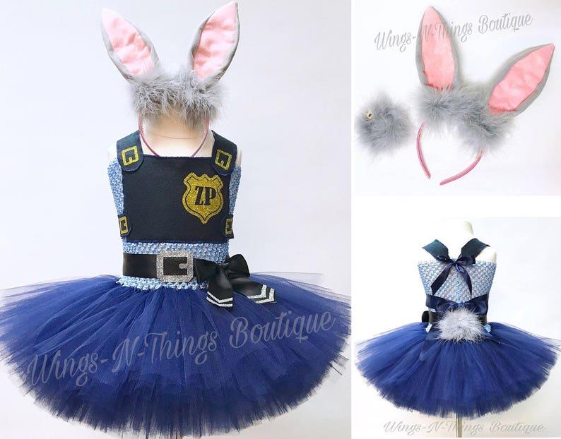 bd743fdf90d BUNNY COP COSTUME Police Tutu Dress Rabbit ears   tail