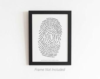 Custom Word Art, Fingerprint Scripture Bible Verse Word Art, Unique Bible Study Gift, Thumbprint Memorial Art