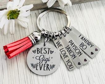 SEIRAA Gigi Gift Grandma Jewelry Gift Form Granddaughter Happiness is Being A Gigi Keychain Nana Gift