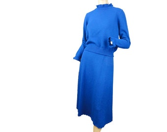 Vintage 1970s Dress Electric Blue Knit Sweater Dress Two Piece Midi Skirt Ruffled Top
