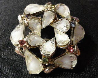 White Vintage 50s Brooch Rhinestone Circle Pin Icy Winter White Faceted Teardrop or Pear Shape