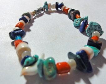 "Vintage 90s Gemstone Turquoise Chips Beaded Bracelet Coral, MOP OOAK Small 6 3/8"""