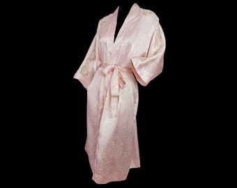 Christian Dior Robe Vintage 80s Peignoir Pink Jacquard Bridal Dressing Gown  Kimono Saks Fifth Avenue Designer Label faa703c57