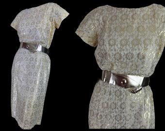 Vintage 50s Sheath Dress Metallic Gold Lace 1950s Cocktail Party Dress Gold Belt Back Button