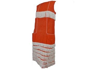 "Mod 60s Dress Orange Sleeveless Shift Dress Fringed Flapper Halloween Costume ""The Villager"""